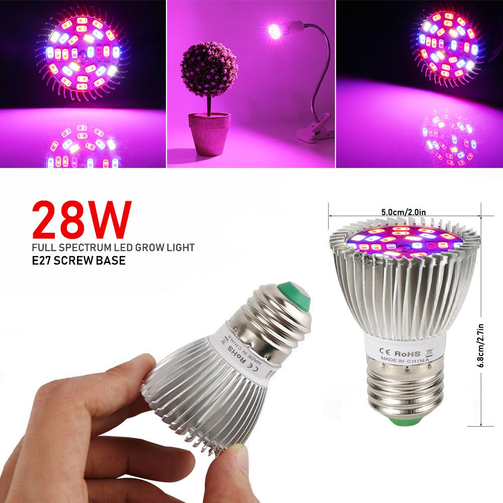 Amazon.com : [Pack of 4] Full Spectrum E26 LED Grow Light Bulb, 28W ...