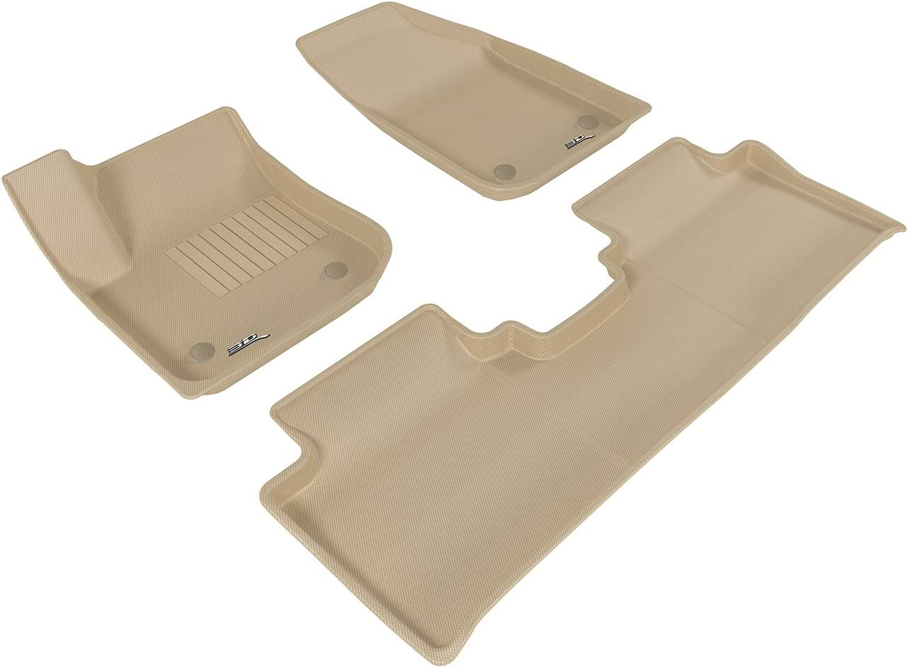 3D MAXpider Complete Set Custom Fit All-Weather Floor Mat for Select Buick Envision Models Kagu Rubber Tan