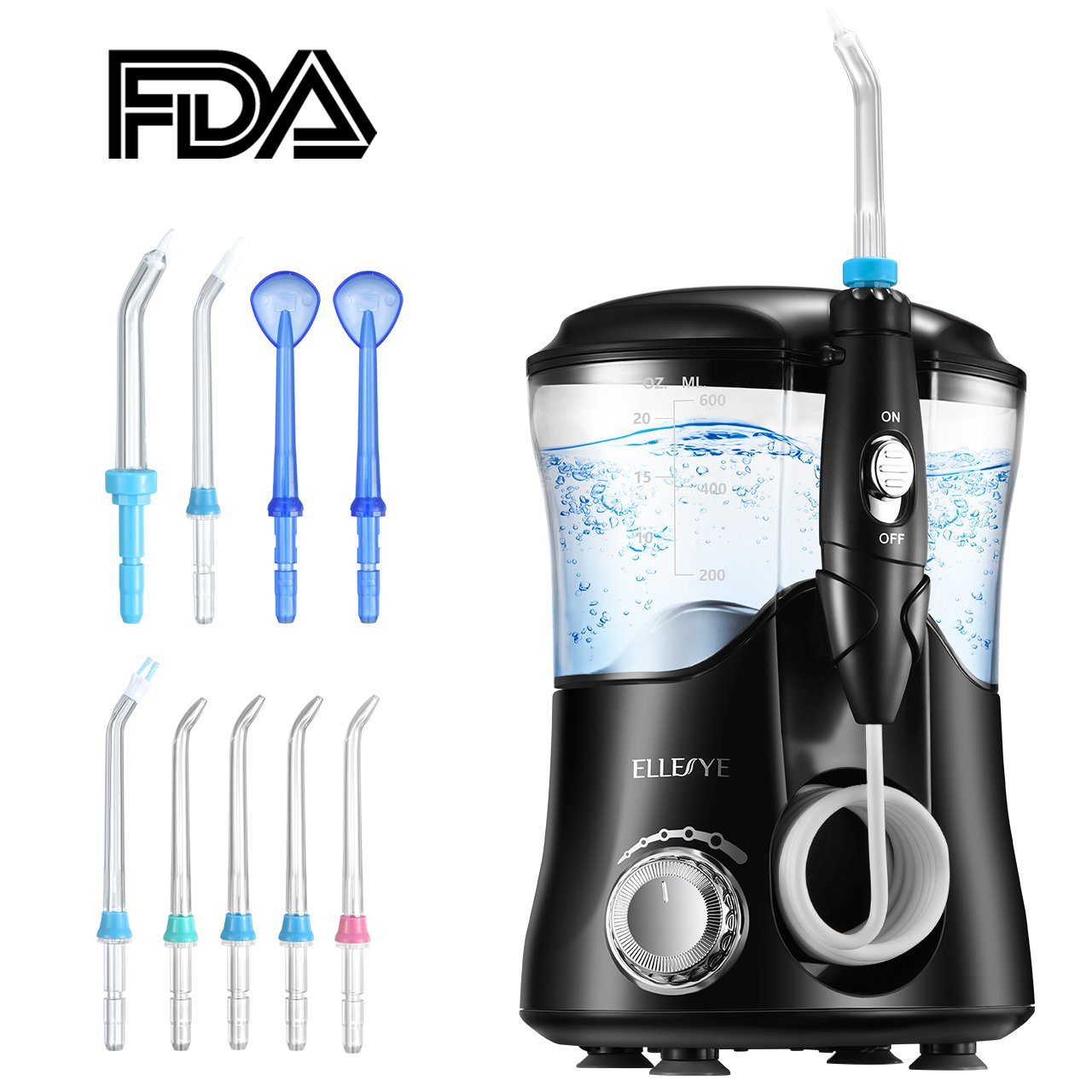 Water Flosser, ELLESYE FDA Approved 600ml Capacity Dental Oral Irrigator with 9 Multifunctional Jet Tips for Family Use, Leak-Proof Quiet Design (50db) Dental Flosser, 10 Stepless Pressure Settings