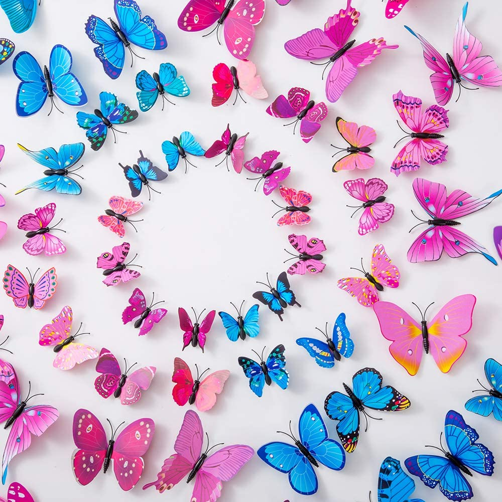 36PCS Butterfly Wall Decals - 3D Butterflies Decor for Wall Sticker Removable Mural Stickers Home Decoration Kids Room Bedroom Decor (Purple+Blue+Pink Red)