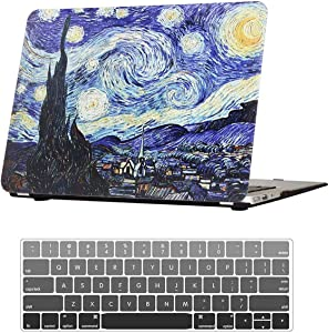 "MacBook Air 13 Inch 2020 Case, A2179 Air 13.3"" with Touch ID & Retina Hard Rubberized Cover Anti-Scratch Protective Case with Keyboard Cover for 2020 MacBook Air 13.3 Inch A2179, Starry Night"
