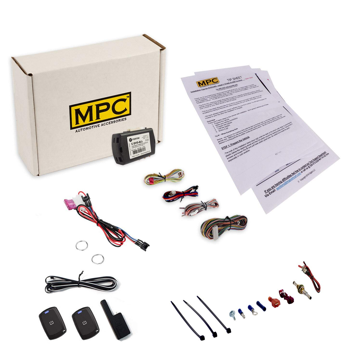 MPC Complete 1-Button Remote Start Kit for 2009-2016 Toyota Venza - Push-to-Start - Gas - T-Harness - Firmware Preloaded