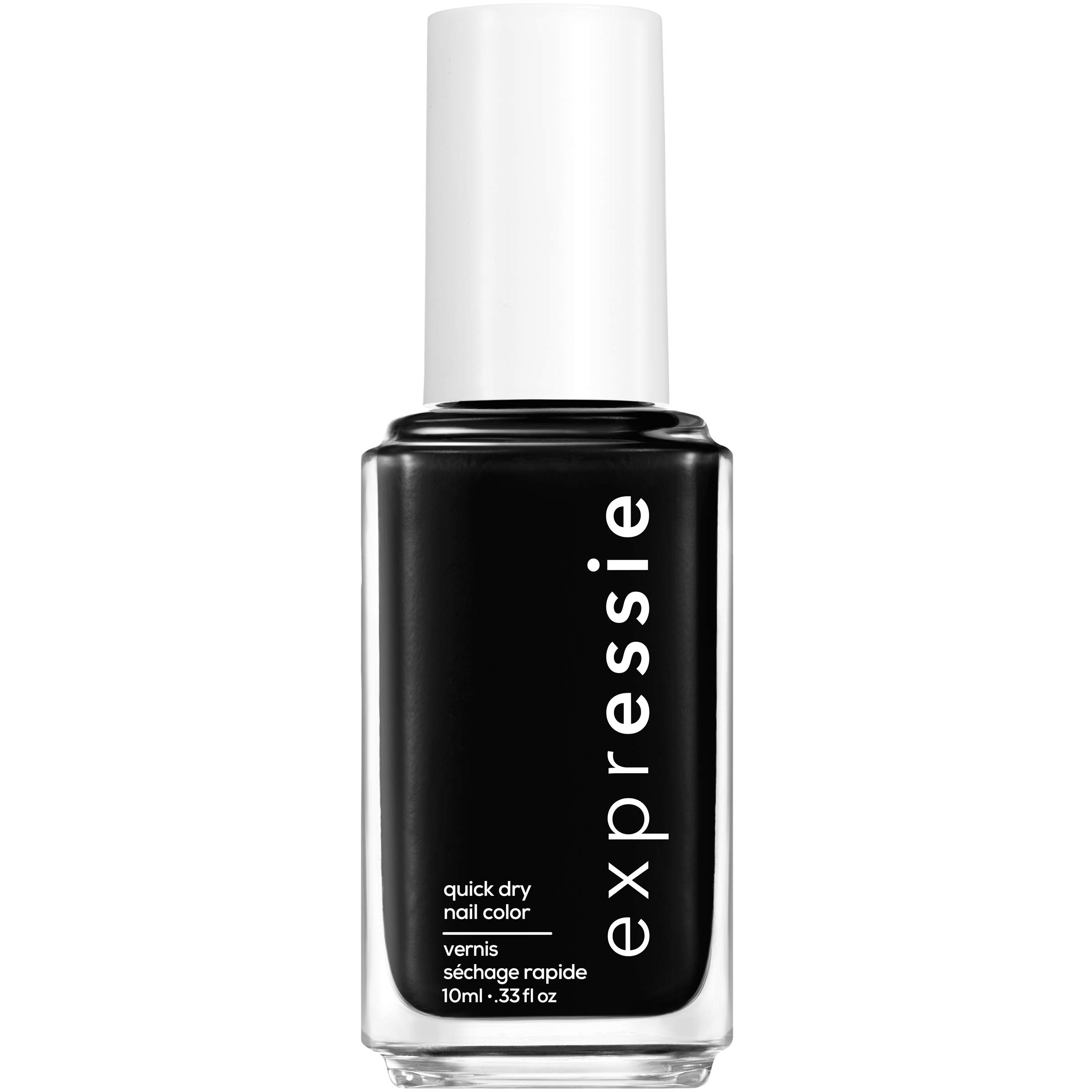 essie expressie Quick-Dry Vegan Nail Polish, Black 380 Now Or Never, 0.33 Ounces