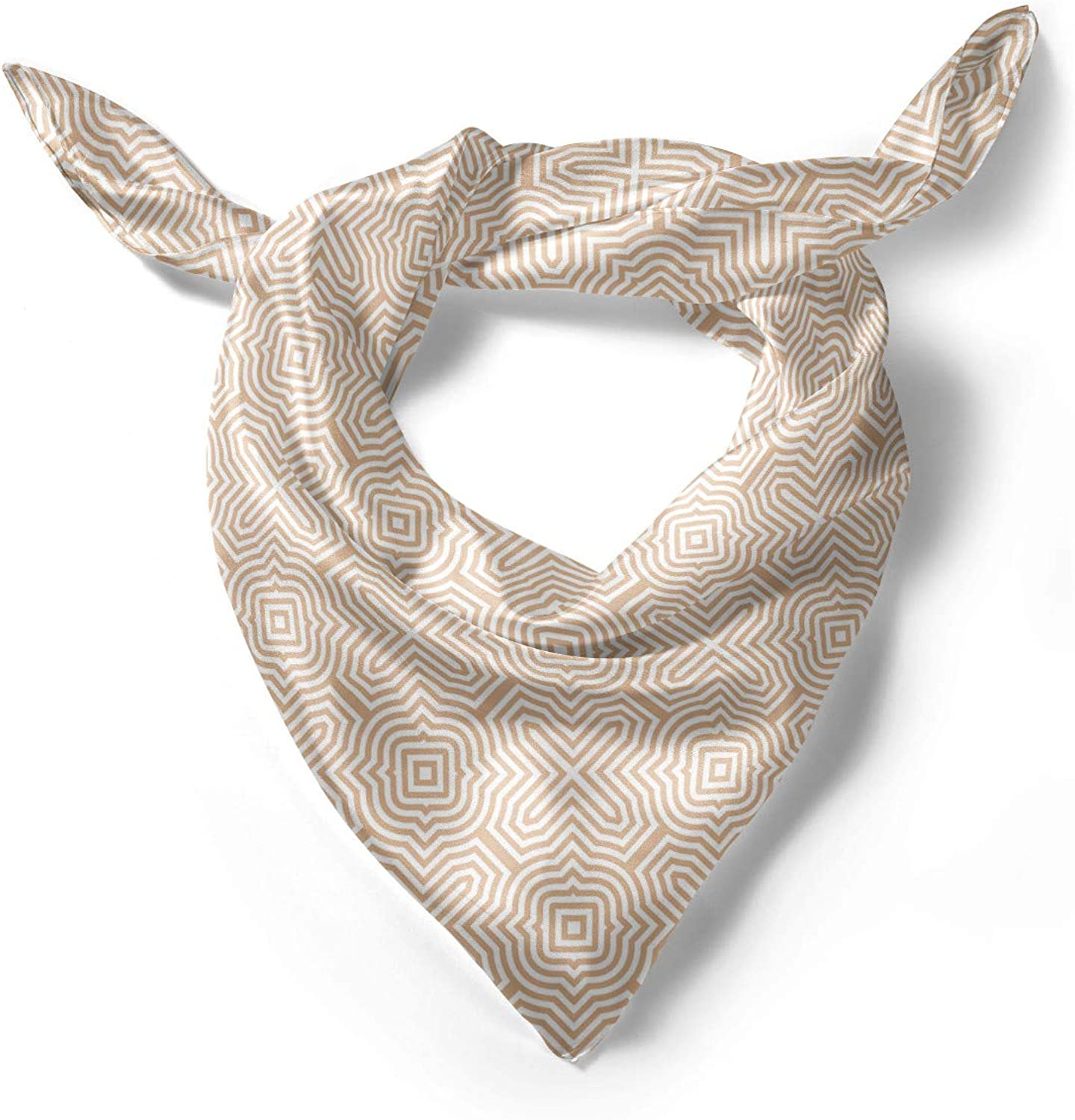 Ambesonne Tan and White Head Scarf Hair Wrap Abstract Maze
