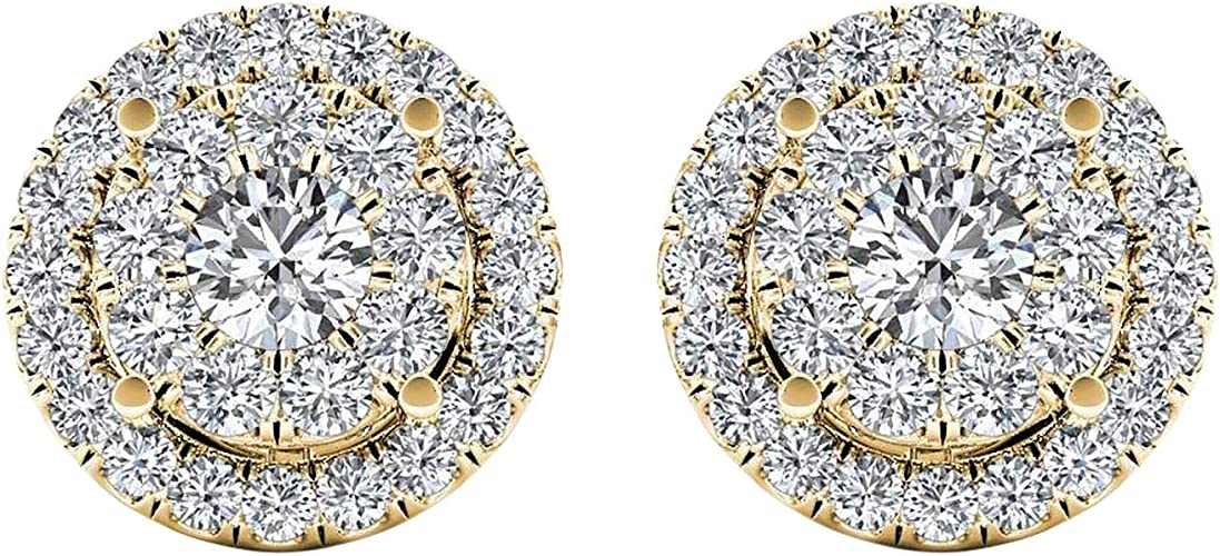 1.92 Ct Round Cut Simulated Diamond Halo Stud Earrings 14K White Gold Over
