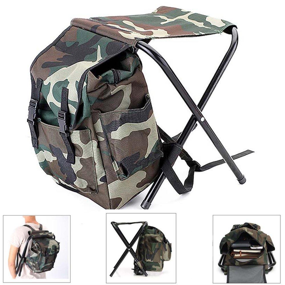 WQWL新しい迷彩バックパッククーラーバッグ椅子high-intensityスチールCross forスツール釣りキャンプアウトドア折りたたみ式バックパック椅子 B075VRLPND