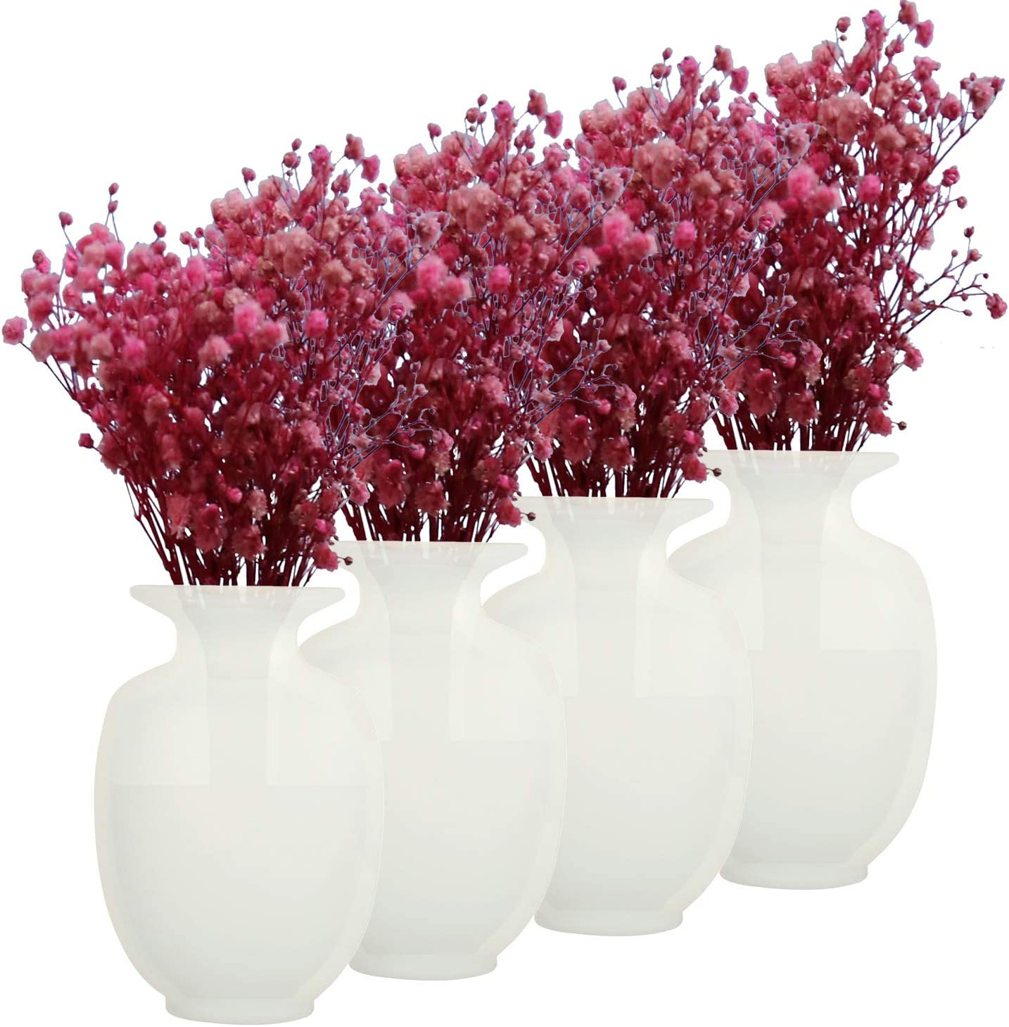 Coidak Removable Silicone Sticky Flower Vases, Wall Hanging Strong Adhesion Flower Pot for Home, Office and Wedding Decoration, Set of 4, White