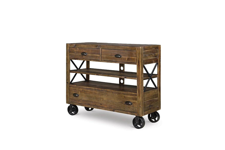 amazoncom magnussen b237536 river ridge wood media chest with casters kitchen u0026 dining - Magnussen Furniture