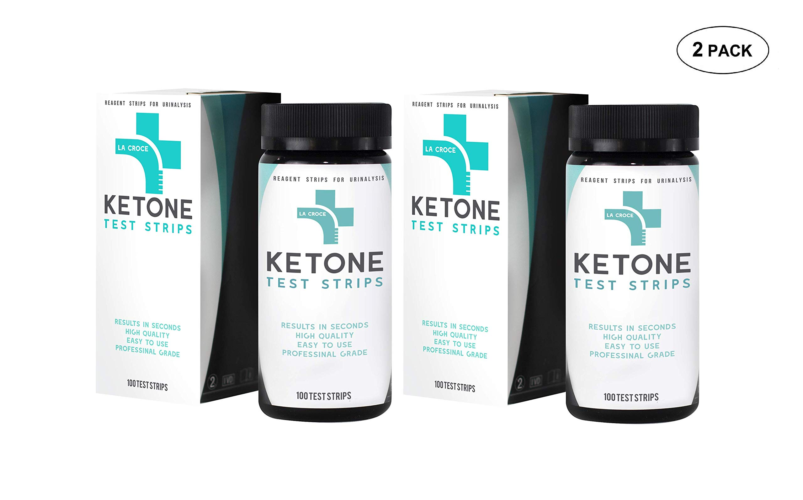 Ketone Keto Urinal Test Strips - Perfect for Ketogenic, Low Carb, Atkins & Paleo Diets, and Ketogenic Measurement, Accurate Result in 15 Seconds, 200 Strips, 2 Packs of 100 Strips by La Croce