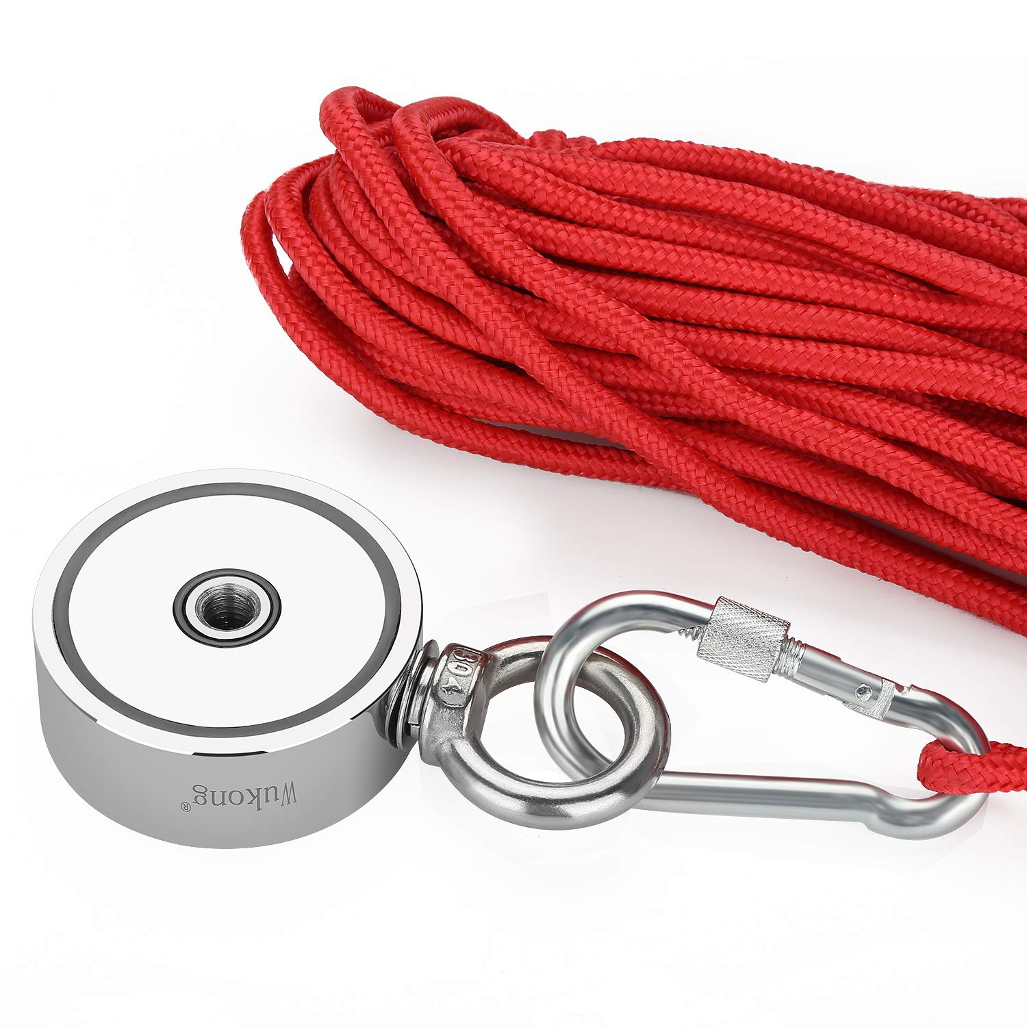 Fishing Magnet with 66ft Rope & Glove, Wukong 760LB Pulling Force Super Strong Neodymium Magnet with Heavy Duty Rope & Carabiner for Magnet Fishing and Retrieving in River - 67mm Diameter by Wukong (Image #6)