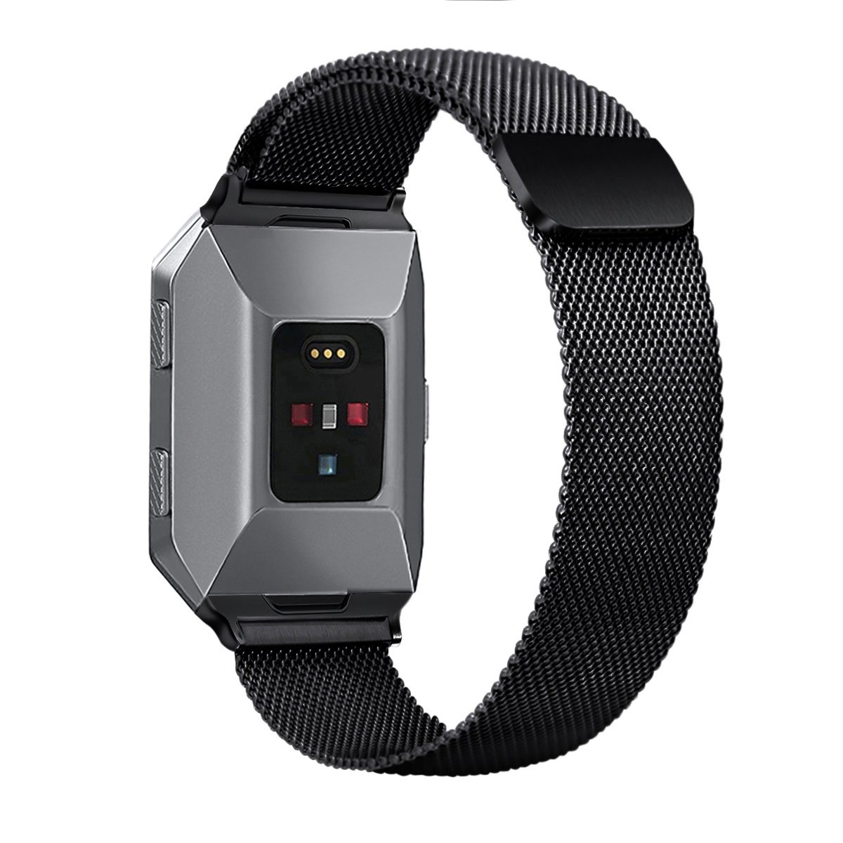 Bayite For Fitbit Ionic Bands Stainless Steel Milanese Loop Metal Charcoal Smoke Gray Replacement Strap With Unique Magnet Lock Accessories Large Silver