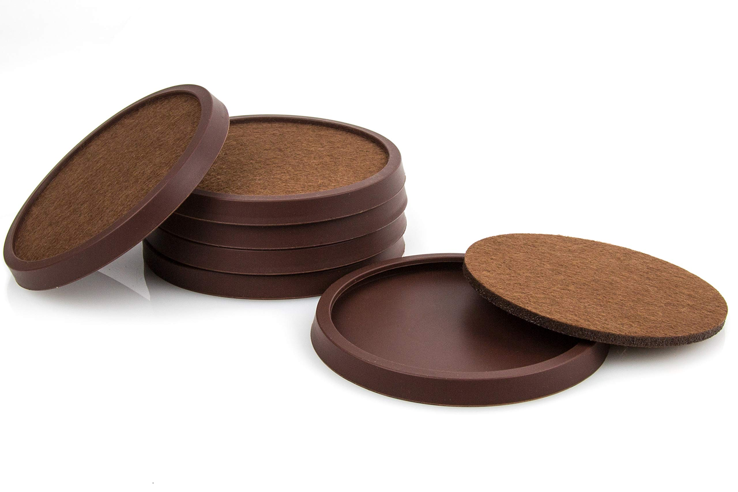 Silicone Drink Coasters with Absorbent Soft Felt Insert Set of 6 by Comfortena - Unique New Design Two in One Coaster (Rich Brown)