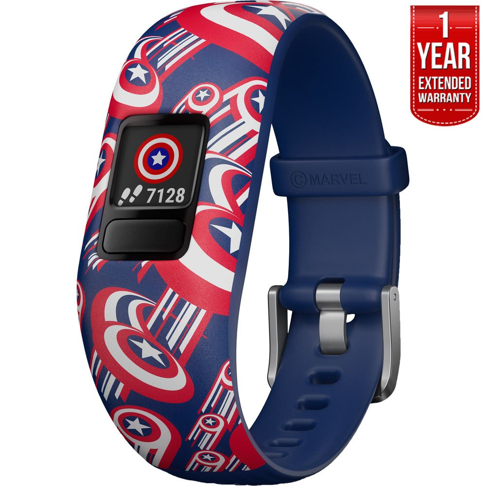 Beach Camera Garmin Vivofit jr. 2 Adjustable Captain America Activity Tracker for Kids (010-01909-32) + 1 Year Extended Warranty by Garmin