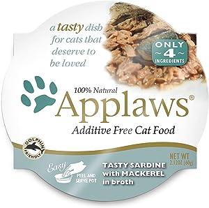 Applaws Tasty Sardine with Mackerel Peel & Serve Pot Cat Food, 2.12 oz., Case of 18, 18 X 2.12 OZ