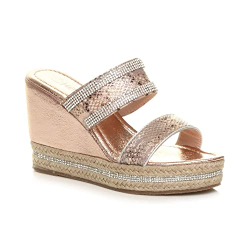 2986d445af7d Ajvani Womens Ladies high Wedge Heel Diamante Strappy Platform Sandals  Mules Size 3 36 Rose Gold