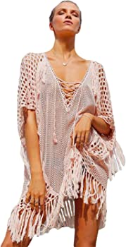White Plunging V Neck Lace up Fishnet Fringe Kaftan Cover Up