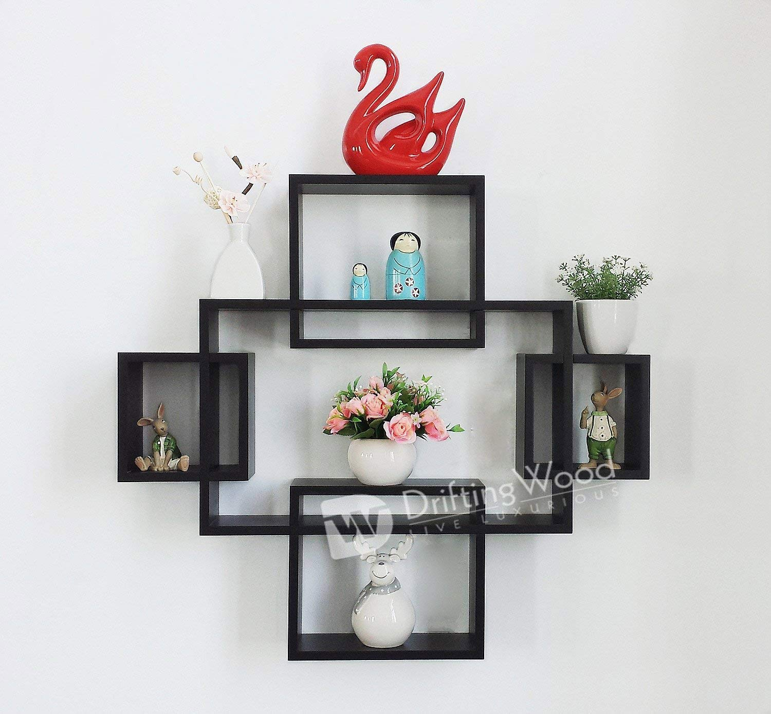 Driftingwood Wooden Intersecting Wall Shelves Shelf For Living Room Set Of 5 Black Amazon In Home Kitchen