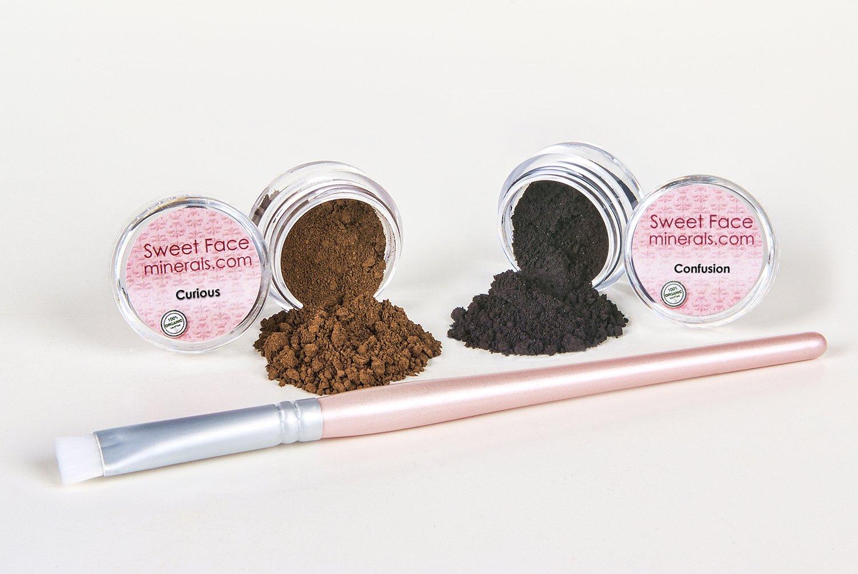 BLACK & BROWN EYE LINER w/BRUSH KIT Mineral Makeup Shadow Bare Skin Brow Powder Set