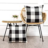 MKLFBT Pack of 2 Farmhouse Decor Christmas Pillow Covers 18 x 18 Black White Buffalo Checked Plaids Fall Throw Pillow Covers
