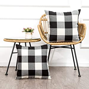 Pack of 2 Farmhouse Decor Decorative Pillow Covers 18 x 18 Black White Buffalo Checked Plaids Fall Throw Pillow Covers Linen Cushion Covers for Sofa Couch Outdoor Camping