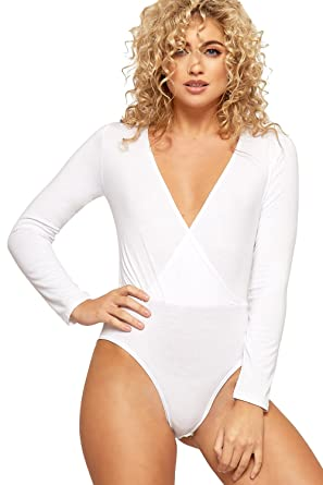 WearAll - Cache-coeur col v plongeant body top à manches longues - Blanc - 5e7c56fc6fe