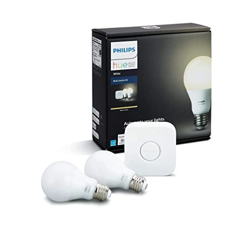 Philips Hue White A19 E27 60 W Equivalent Smart Bulb Starter Kit (2 Hue  White Bulbs and a Bridge, Compatible with Amazon Alexa, Apple HomeKit and
