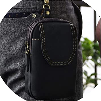 Unisex Genuine Leather Travel Outdoor Hook Pouch Fanny Waist Pack Pouch Bag