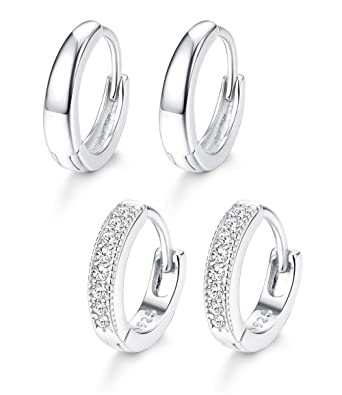 6f4ed9669f793 Adramata 2 Pairs 925 Sterling Silver Huggie Hoop Earrings for Women Girls  Tiny Small Hoop Huggie Earrings 13mm
