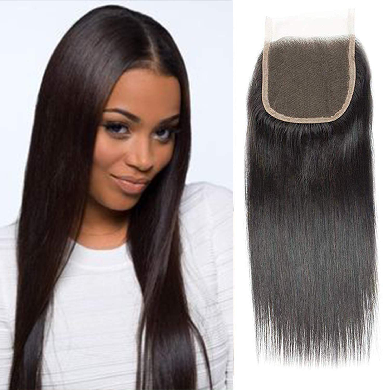 "Brazilian Straight Hair 14inch Closure, Unprocessed Virgin Brazilian Hair Straight 4x4 Lace Closure, Free Part Lace Closure, 130% Density Natural Black Remy Human Hair(14"")"