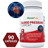 BEST Blood Pressure Supplement (NON-GMO & Gluten Free) 90 CAPS : Blood Pressure Support with Hawthorn Berry and Uva Ursi: Herbs and Vitamins for High Blood Pressure : 100% Money Back Guarantee
