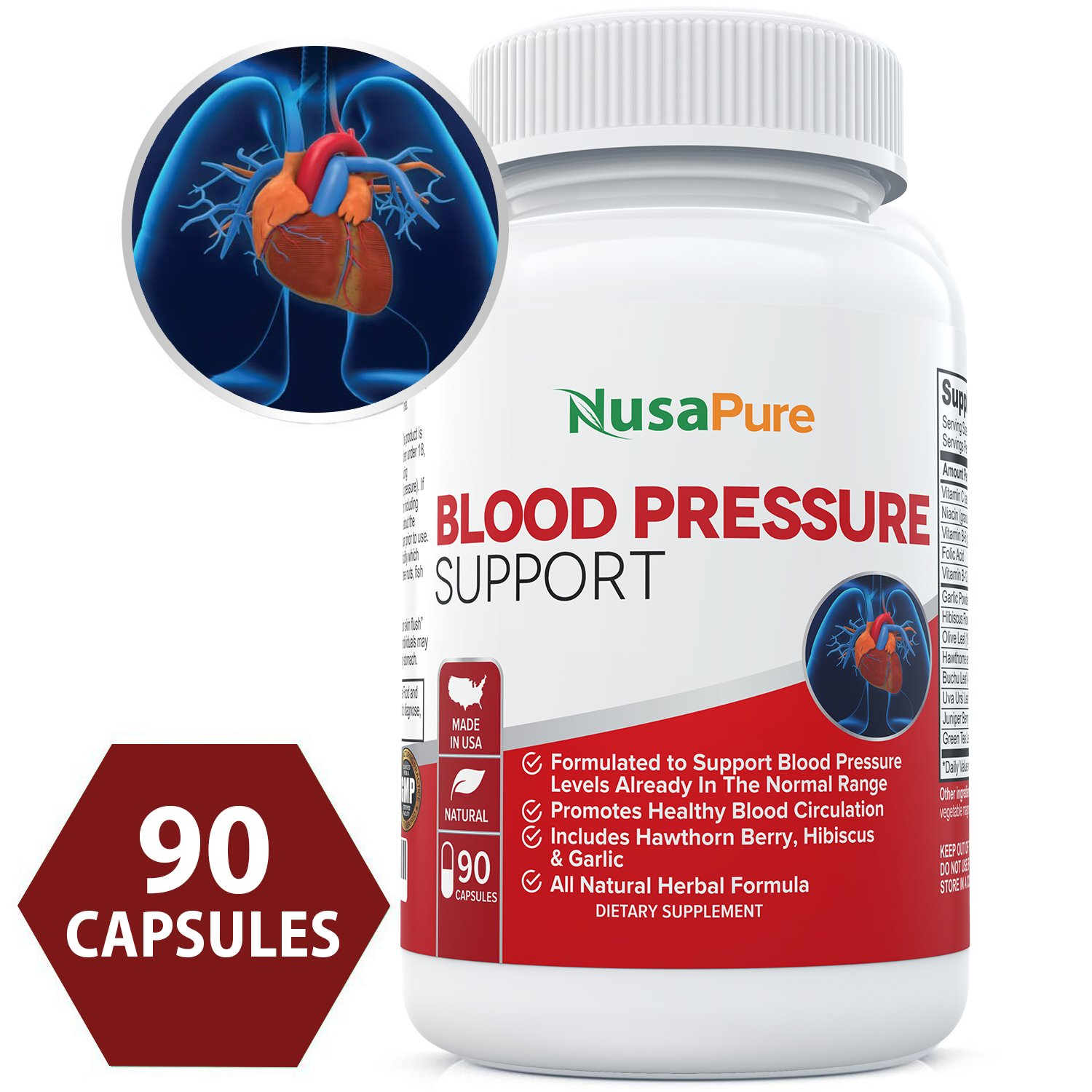 Blood Pressure Supplement (Non-GMO & Gluten Free) 90 CAPS : Blood Pressure Support with Hawthorn Berry and Uva Ursi…
