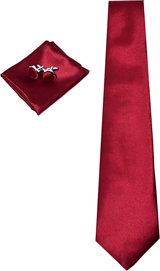 Corbata de hombre, Pañuelo de Bolsillo y Gemelos Rojo Burdeos ...
