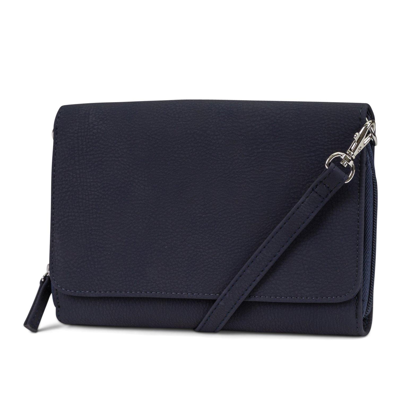 Mundi RFID Crossbody Bag For Women Anti Theft Travel Purse Handbag Wallet Vegan Leather (Navy)