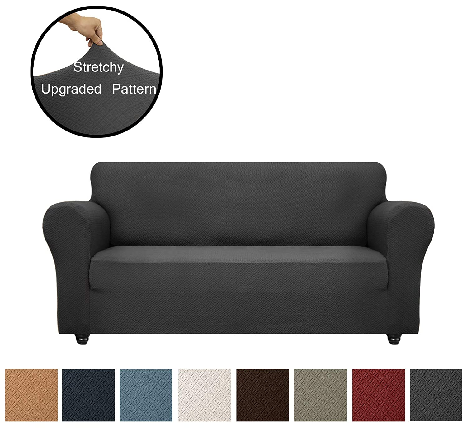 Obytex Sofa Cover High Stretch 1-Piece Premium Slipcovers Furniture Protectors Couch Covers with Elastic Bottom for Both Leather and Cloth Sofa