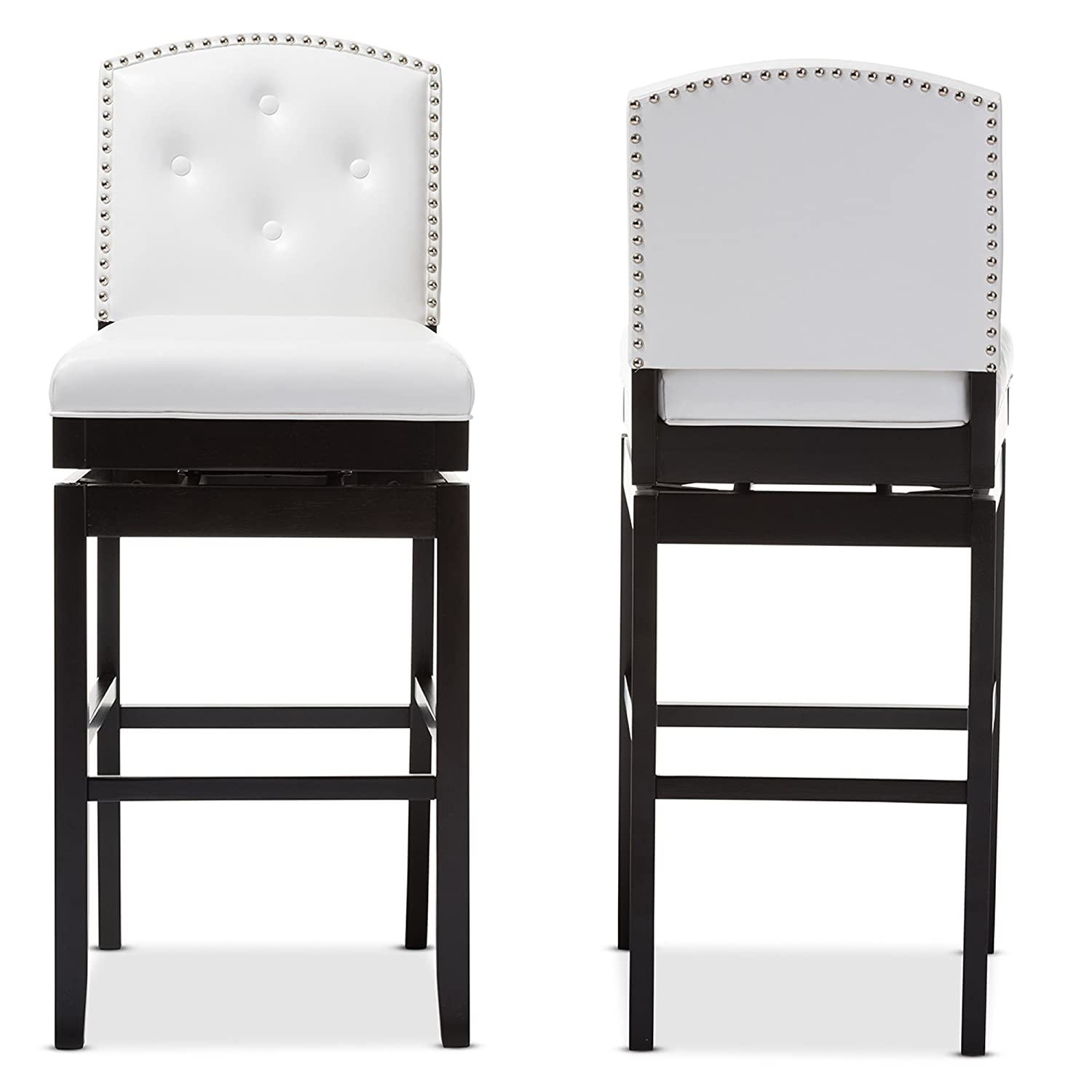 Amazon.com: Baxton Studio Ginaro Modern U0026 Contemporary Faux Leather  Button Tufted Upholstered Swivel Bar Stool (Set Of 2), White: Kitchen U0026  Dining