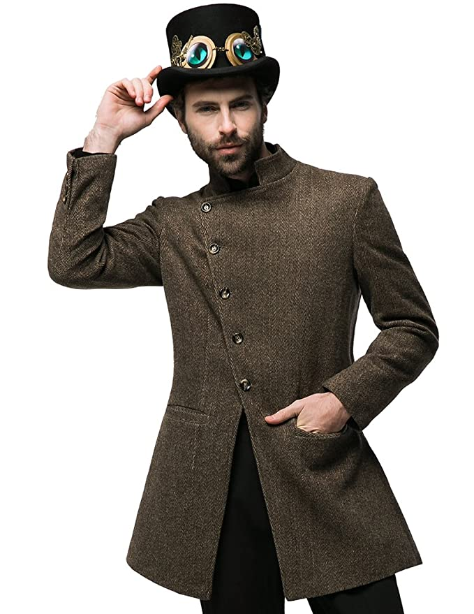 Men's Steampunk Vests, Waistcoats, Corsets Beyond the End of Time Steampunk Dandy Bias Victorian Wool Blend Coat for Man $171.00 AT vintagedancer.com