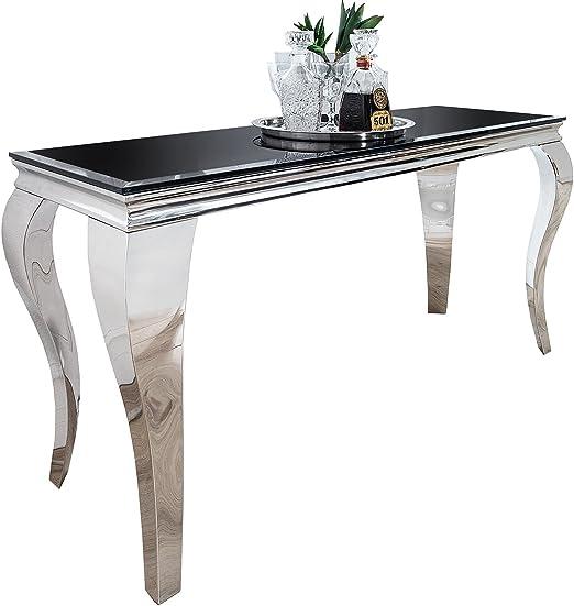 Consola barroco Negro Plata mesa cristal – Cómoda pared Mesa louis ...