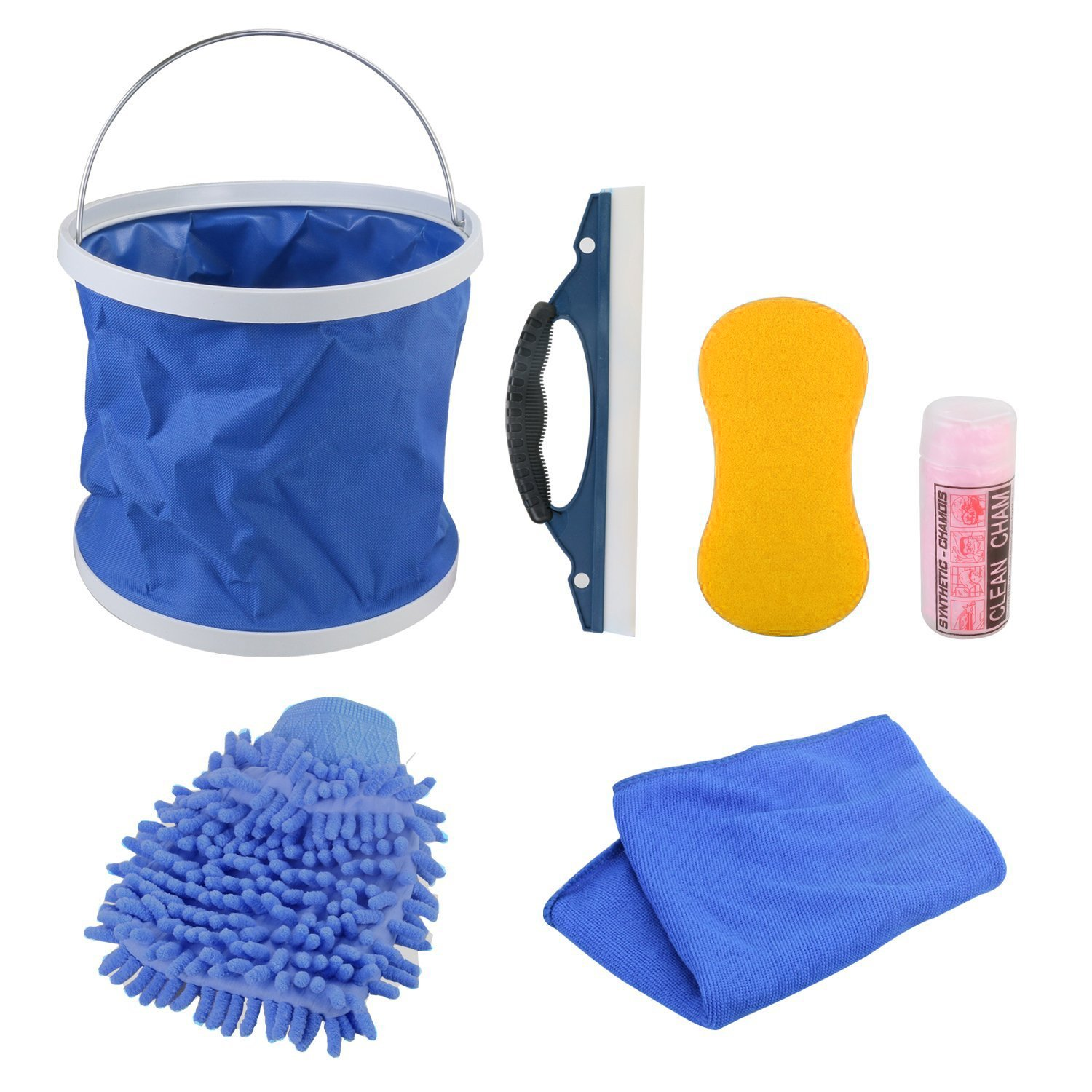 7 Pieces Car Motorcycle Wash Kit Exterior, GOGOLO Car Cleaning Tool Including Wash Mitt Sponge Water Absorption Towel Microfiber Cloths Window Water Blade Water Bucket, Make Your Car Brand New
