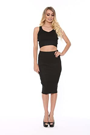 4bed0b4cc 2 Piece Metallic Shiny Ribbed Crop Top & Midi Pencil Skirt Set (Small)