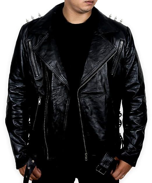 Amazon.com: Ghost Rider Motorbike Leather Jacket w Metal ...