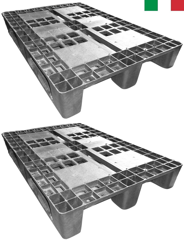 Cenni 12002 Juego de 2 Palés de Plástico 1200 x 800 con 3 Barras, fabricado en Italia