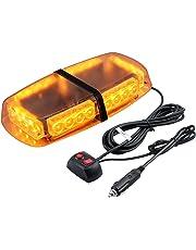 Proster Luz de Emergencia Estroboscópica 12V 24W LED 7 Modos 5m Cable Mechero para Tractor Remolque