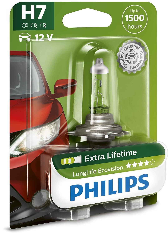 Philips 12972LLECOB1 LongLife EcoVision - Bombilla H7 para faros delanteros