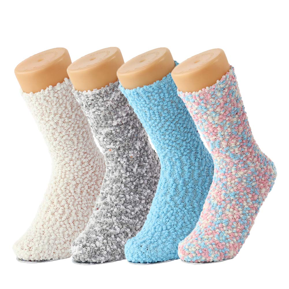 4 Packs Womens Winter Warm and Cozy Indoor Homeand Hospital Crew Slipper Socks (Grey and Blue)