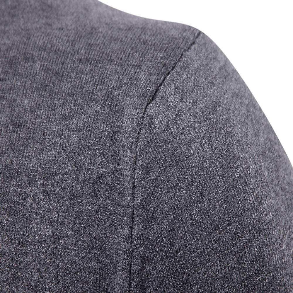 YANGPP Maglioni da uomo Primavera Autunno Maglione Girocollo da Uomo Tinta Unita Camicia da Uomo A Maglia Manica Lunga Streetwear Grigio scuro