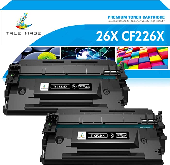 True Image Compatible Toner Cartridge Replacement for HP 26X CF226X 26A CF226A Laserjet Pro M402n M402dn MFP M426fdw M426fdn M426dw M402 M426 Printer Ink High Yield (Black, 2-Pack)