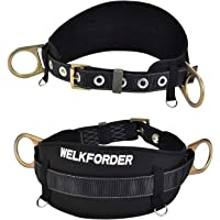 WELKFORDER Tongue Buckle Body Belt with Hip Pad and 2 Side D-Rings Personal Protective Equipment Safety Harness | Waist Fitting Size 32'' to 46'' for Work Positioning, Restraint