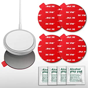 Sticky Adhesive Replacement for MagSafe Charger, pop-tech 3M VHB Sticker Pads Compatible with Wireless Mag-Safe Charger for iPhone 12 Pro Max Mini - 4 Pack Double Sided Tapes & 4 Pack Alcohol Pads