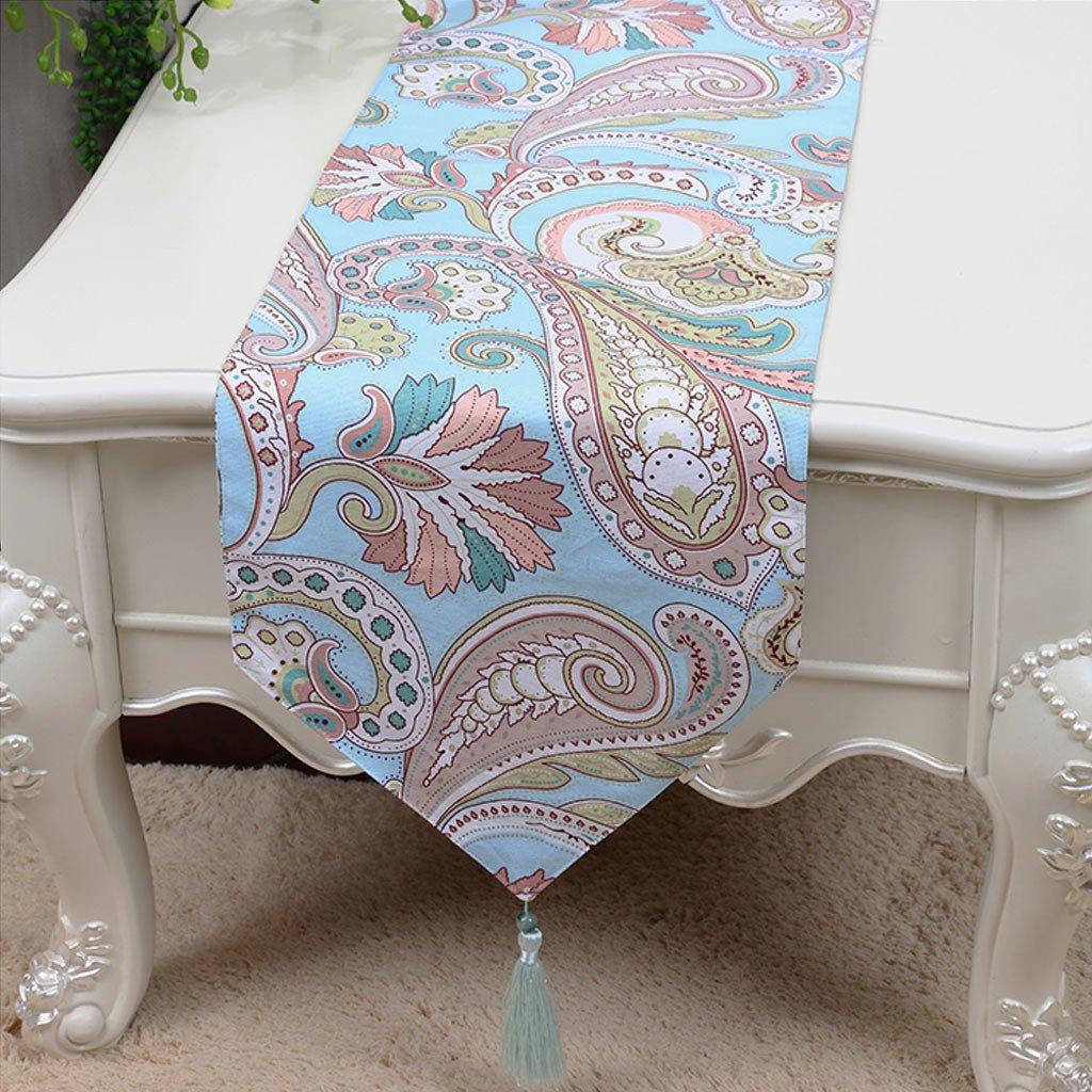 LINGZHIGAN Blue Flower Pattern Tela Corredor de la tabla Moderno Simple Moda Upscale Salón Cocina Restaurante Hotel Textiles para el Hogar (Este producto sólo vende corredor de mesa) 33  180cm