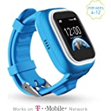 TickTalk Touch Screen Kids Wearable tracker wrist Phone w/ GPS locator, Anti-lost, Controlled by Apple and Android phone APP in Blue Including 1 FREE MONTH w/ T-MOBILE NETWORK!